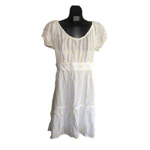 Women's Ivory Summer Dress with a Yellow Embroider